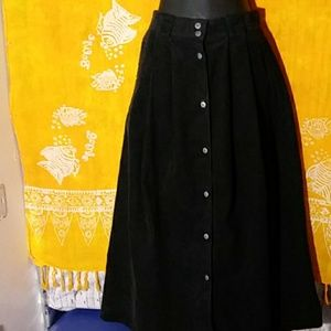 Vintage Merona black corduroy button up midi skirt